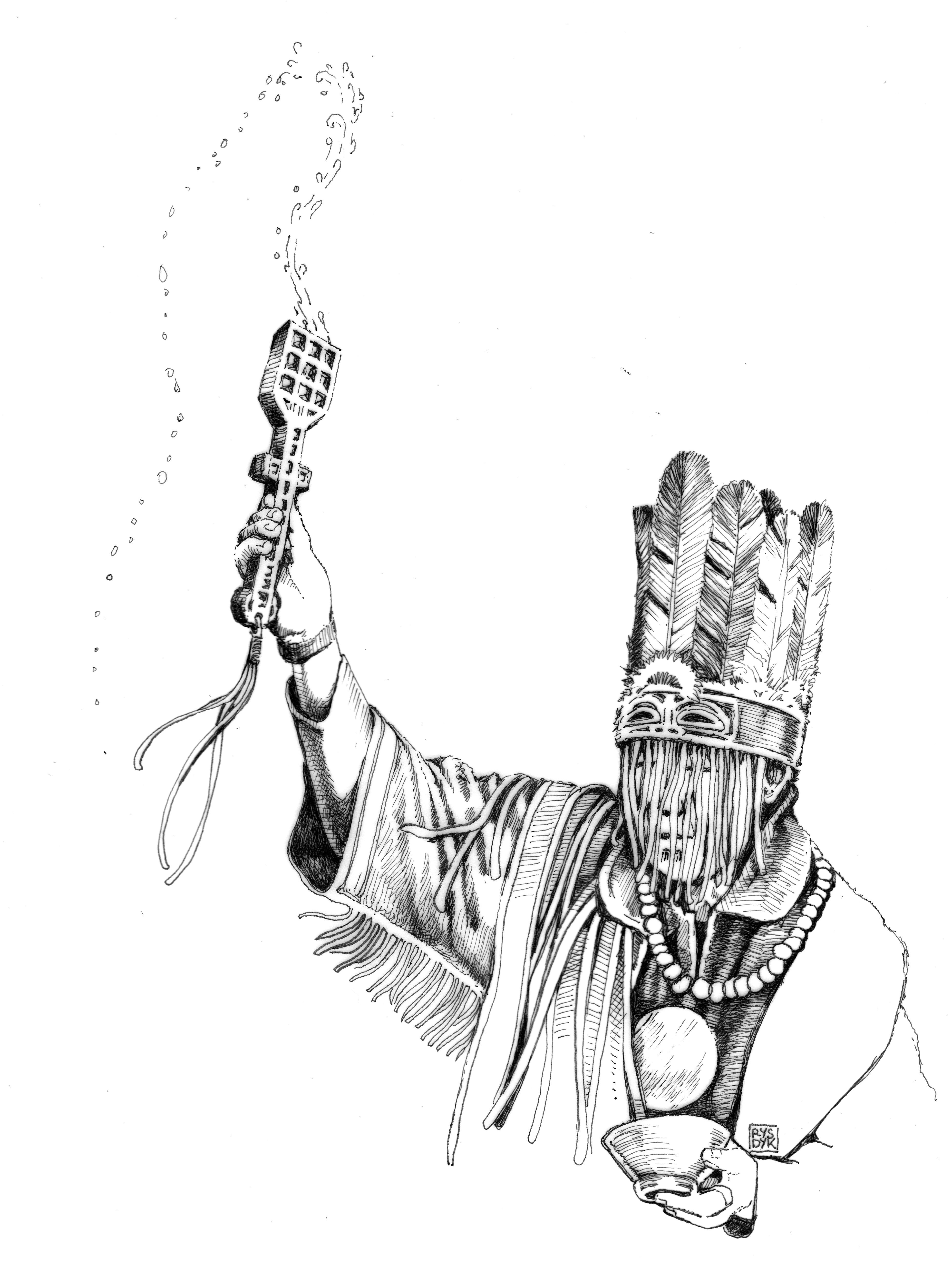 Tuvan shaman making a milk offering